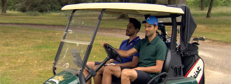 Novak Djokovic, Coach Boris Becker and Mark Stillitano Tee Up for a Game of Golf