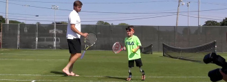 Ryan Harrison Plays Tennis with Braylon, a Young Inspirational Fan