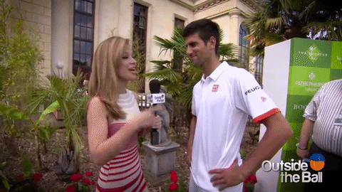 Novak Djokovic and Mayleen laugh