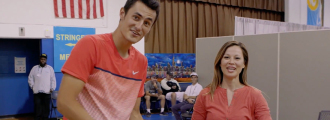 Bernard Tomic Shows Off His B-Ball Skills and a Fierce Pose